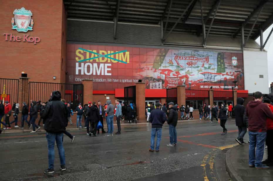 Fans arriving outside the Kop before the Liverpool v Huddersfield Premier League match at Anfield in April 2019.