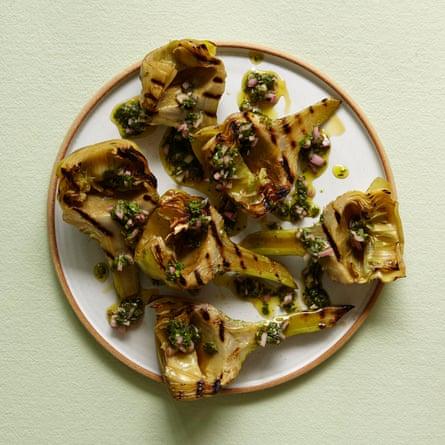 Samin Nosrat's grilled artichokes.