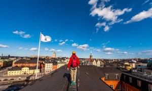 Rooftop walking in Stockholm