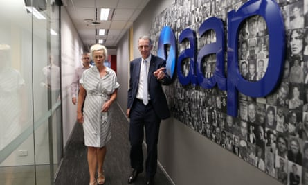 Campbell Reid, AAP chairman and News Corp Corporate Affairs chief and Emma Cowdry, Australian Associated Press's Group General Council after the closure announcement at AAP head office in Sydney, Australia, 03 March 2020.
