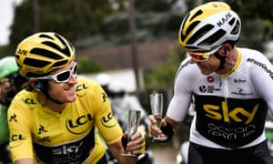 Geraint Thomas (left) clinks champagne glasses with Chris Froome as he  approaches the finish 8f7e2b61d