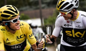 Geraint Thomas and Chris Froome, pictured during the final stage of this year's Tour de France, finished first and third in the general classification.