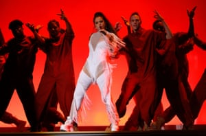 Rosalía performs at the 2020 Grammy awards.