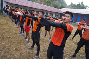 Candidates stretch after the 'doko run'