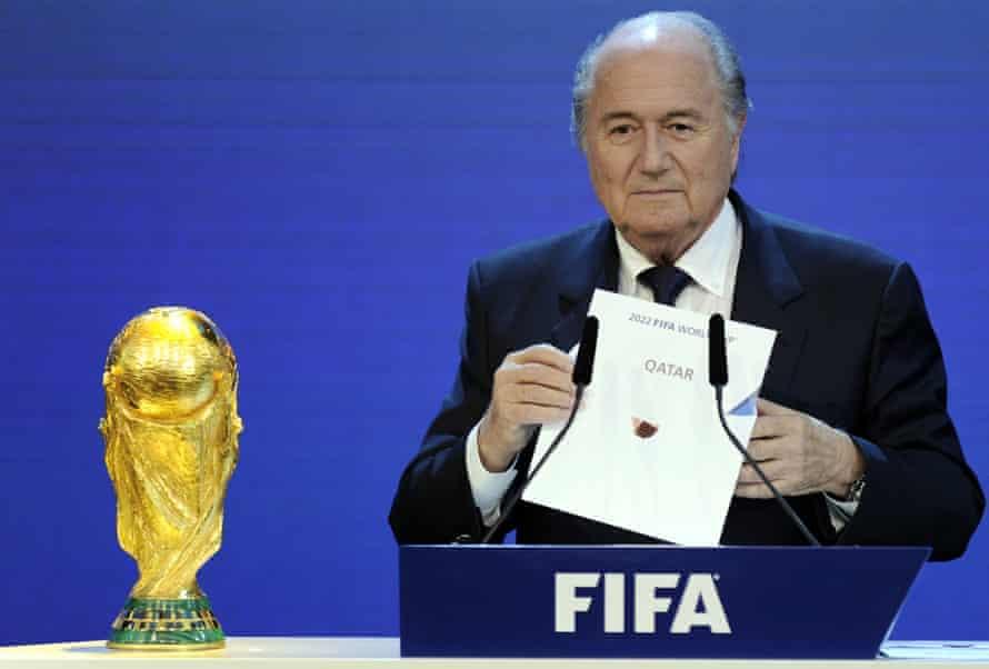 Sepp Blatter announcing Qatar as 2022 World Cup hosts.