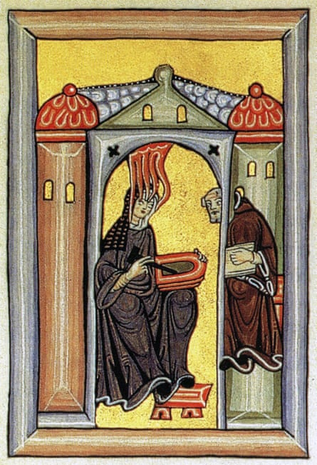 The 12th-century German abbess and polymath Hildegard of Bingen from the Liber Scivias, detailing her religious visions. Peter Dronke's highlighting of her contribution led to widely popular recordings of her music.
