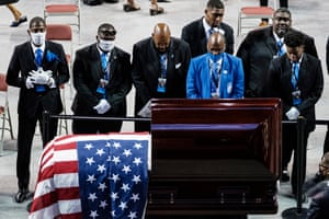 Members of the Phi Beta Sigma fraternity pay their respects to civil rights leader and Democratic representative from Georgia, John Lewis, at a memorial service.