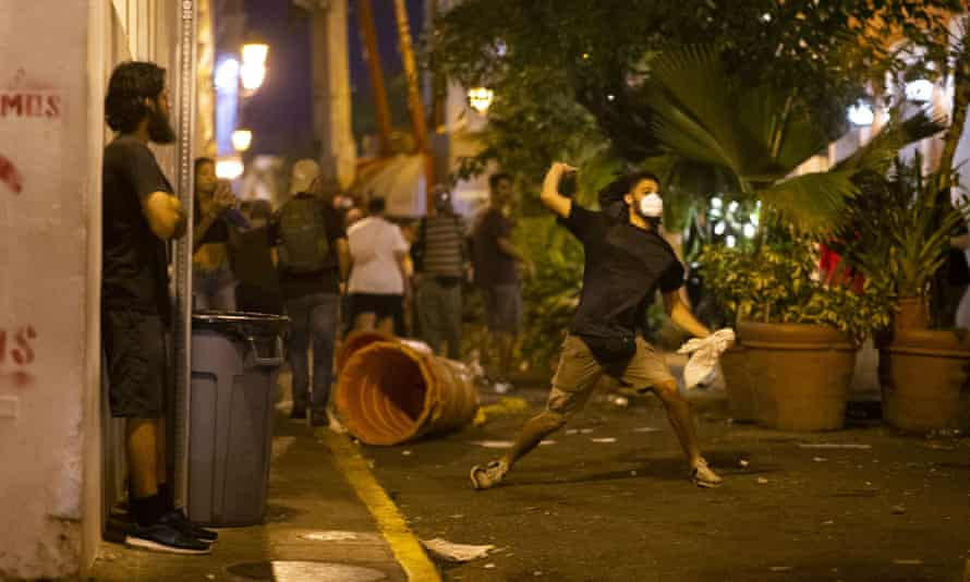 Protesters call for the resignation of the governor, Ricardo Rossello, in San Juan on Monday.
