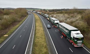 Lorries on the A256 north of Dover, Kent, taking part in a trial of potential post-Brexit traffic problems, January 2019.