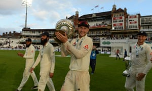 Joe Root with the Pataudi Trophy for England's 4-1 series win against India.