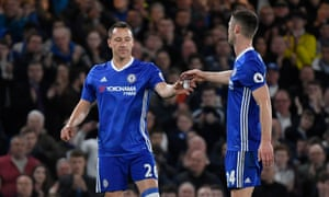 John Terry is given the captains armband by Gary Cahill.