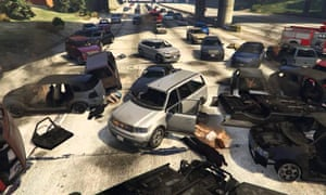 scene of a motorway pile up in grand theft auto