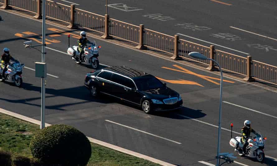 North Korean leader Kim Jong-un's motorcade arrives in Beijing