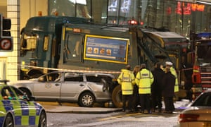 The scene in George Square, Glasgow, after a bin lorry crashed and killed six people.