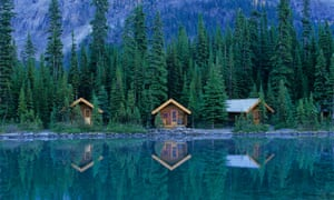 Cabins by Lake O'Hara in Yoho national park, British Columbia.
