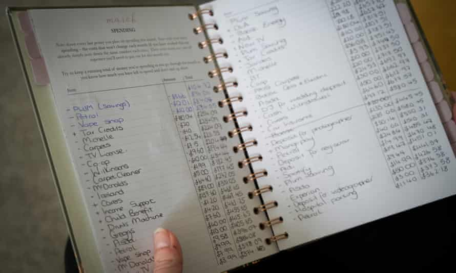The diary in which Amy notes down her spending