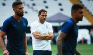 Frank Lampard looks on during a Chelsea training session at Besiktas Park.