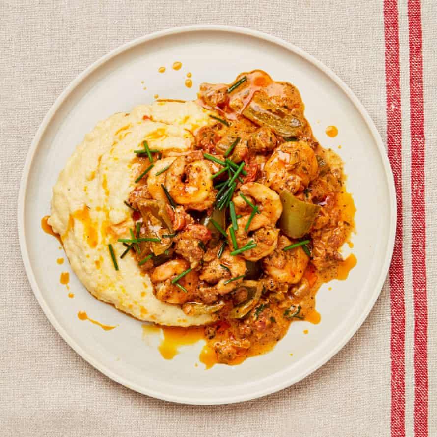 Yotam Ottolenghi's recipe for Cajun prawns, tomato sauce and cheesy polenta.