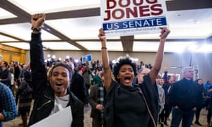 Supporters celebrate as US Senate candidate Doug Jones is declared the winner at his watch party in Birmingham, Alabama Tuesday.