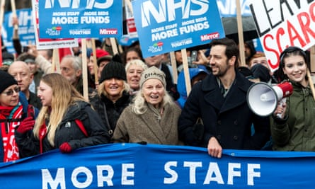 Dame Vivienne Westwood and actor Ralf Little joined yesterday's march in London in protest at NHS underfunding.