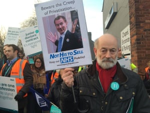 Raymond Tallis, supporting striking junior doctors in Stockport, Greater Manchester
