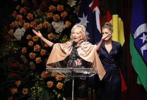 Bob Hawke's granddaughter Sophie Taylor-Price and Blanche d'Apluget address the Hawke memorial service.