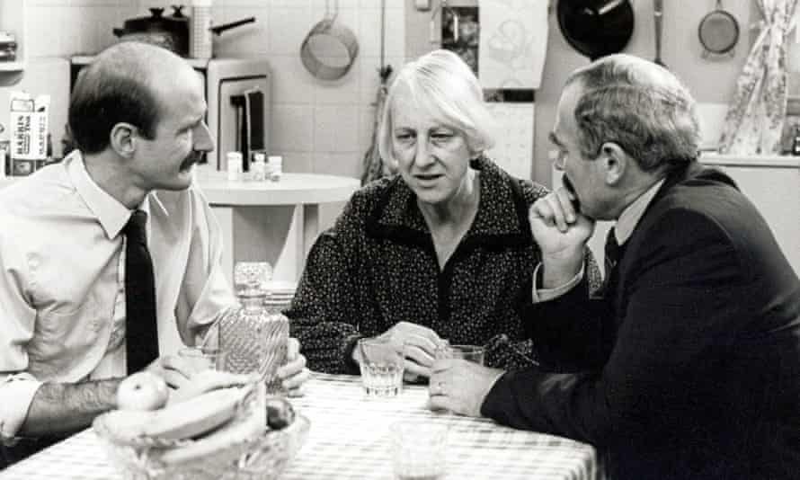 Ruth Cracknell (centre), Garry MacDonald (left) and Henry SZeps in Mother and Son.