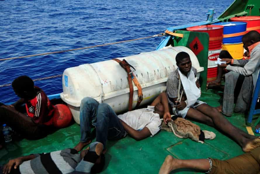 Migrants onboard the Iuventa