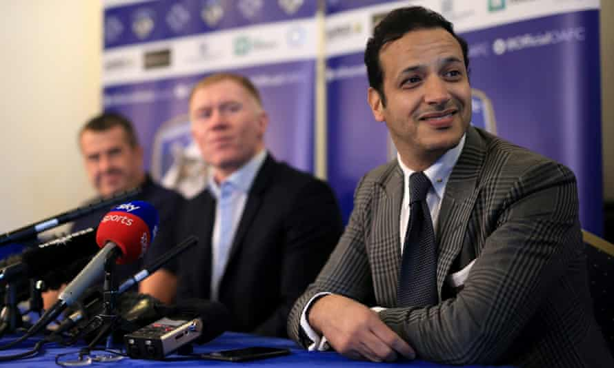 Oldham's owner Abdallah Lemsagam at the unveiling of Paul Scholes as manager in February 2019.
