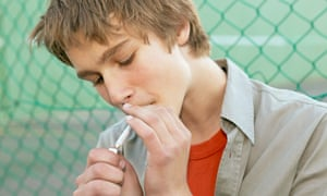 Teenager smoking a joint