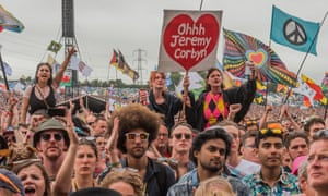 Heart and hope … fans listen to the Labour leader at Glastonbury last year.