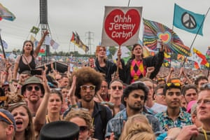 Jeremy Corbyn is welcomed by an enthusiastic crowd at the 2017 Glastonbury Festival.