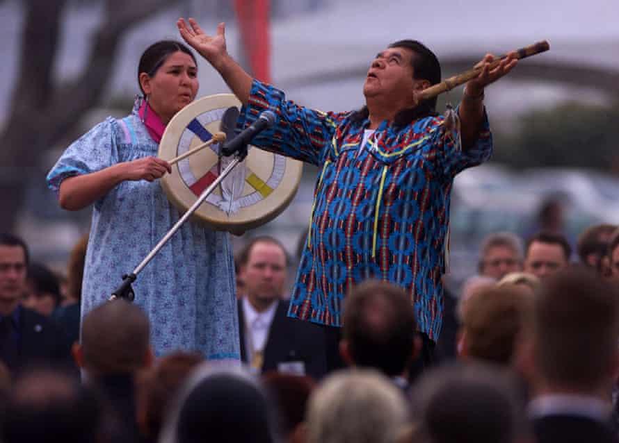At a memorial service in California in 2000 with Lanny Pinola, a Pomo/Miwok spiritual leader.