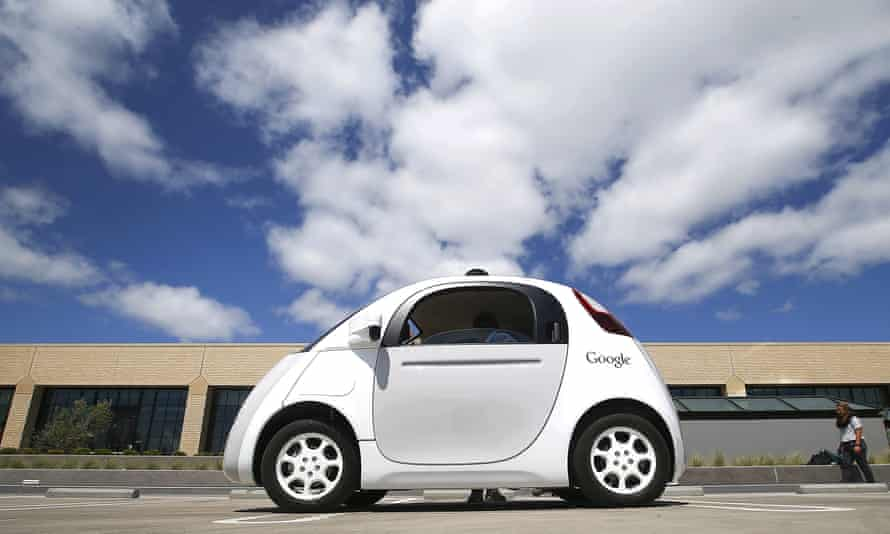 Google's prototype self-driving car at the Google campus in Mountain View, California