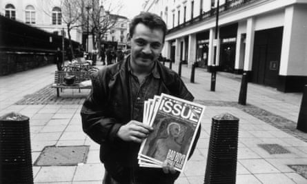 A vendor sells the magazine at Charing Cross, London, in 1993.