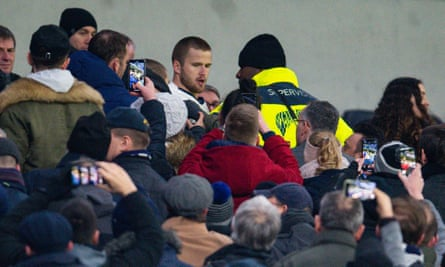 Eric Dier goes into the crowd to confront a fan, Tottenham v Norwich