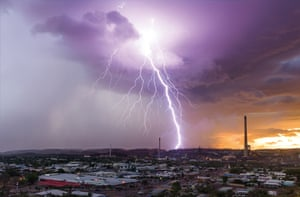 Lightning strike over Mount Isa mines, Queensland