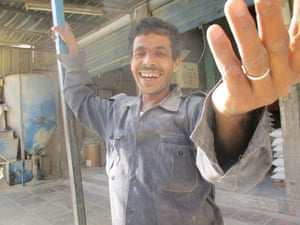 An expatriate construction worker in Jordan. He gave me a big smile despite his tough working life