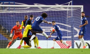 Willian of Chelsea has a shot at goal