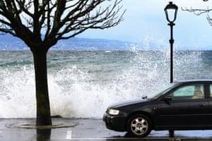 Windy weather near Lake Geneva in Lutry, Switzerland