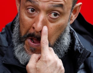 Wolves manager Nuno Espírito Santo reacts after their loss.