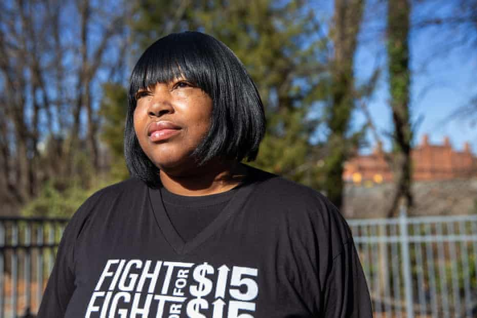 Wanda Coker, of Durham, North Carolina, poses for a portrait at the office of NC Raise Up/Fight for $15 on 12 December 2019.