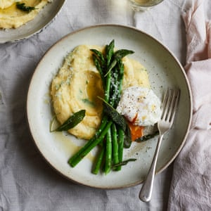 Anna Jones' herby polenta with asparagus and poached egg.