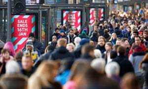 Sales and shoppers on Edinburgh's Princes Street. UK retail sales rose 1% in January