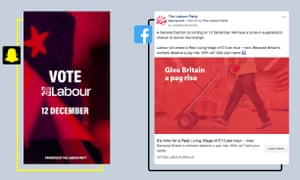 Labour campaigns on Facebook and Snapchat.