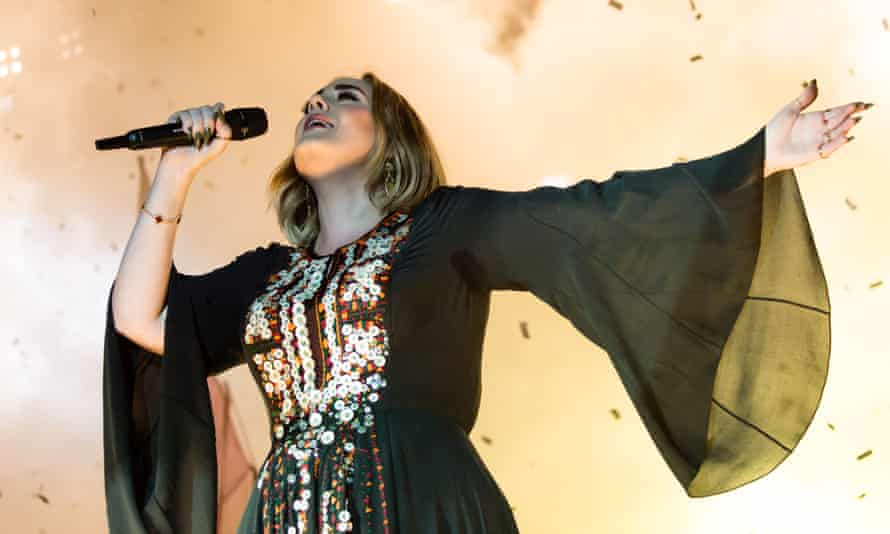 Adele performing at Glastonbury festival in 2016