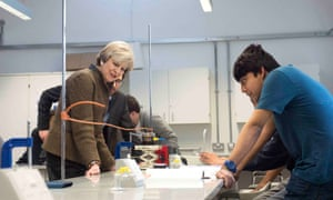Theresa May during a visit to King's College London mathematics school this week.