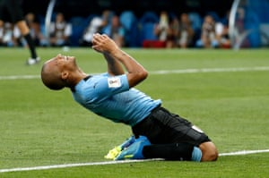 Carlos Sanchez of Uruguay reacts after missing a goal opportunity.