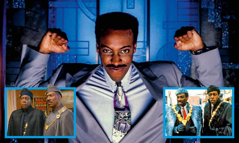 Coming to America's Arsenio Hall (centre) in the sequel (left) and in the original (right).