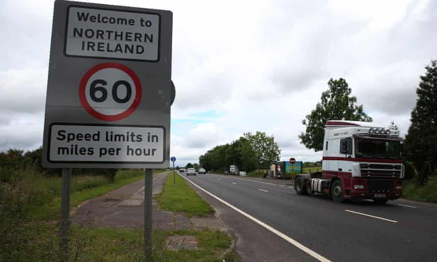 Traffic crosses the border between the Republic of Ireland and Northern Ireland in the village of Bridgend, Co Donegal.